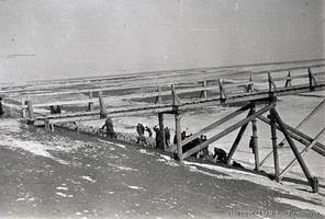 "A view of the work done to strengthen the levee slope of the irrigation channel in the ""Karl Liebknecht"" collective farm, Gmelinskiy Kanton, 1937."